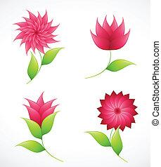 vektor, blomningen, natur, design.