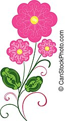 vektor, blomster, 2, flourishes