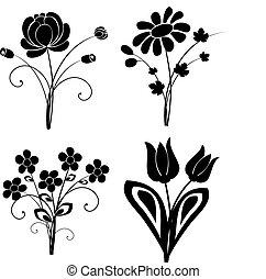 vektor, blomster, 2, silhuet, sæt