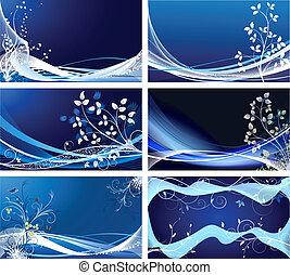vektor, blomstrede, abstrakt, sæt, baggrunde