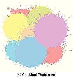 vektor, blots, elements., színes, háttér., szín, elszigetelt, ábra, többszínű, splashes., festék fröccsen, tinta, fehér