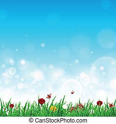 vektor, blumen, gras, landschaftsbild