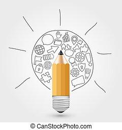 vektor, blyertspenna, begrepp, idea.