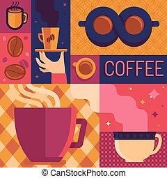 vektor, bohnenkaffee, plakat, schablone, in, wohnung, retro stil