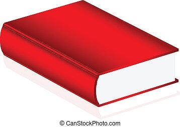 vektor, bok, illustration, röd