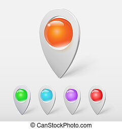 vektor, bold, farverig, realistiske, visere, krystal, sæt, knappenål, eller