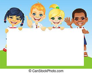vektor, boldog, mosoly, gyerekek, és, transzparens
