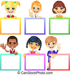 vektor, boldog, mosoly, gyerekek, noha, szalagcímek