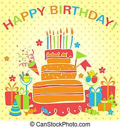 vektor, boldog születésnapot, háttér., köszönés kártya