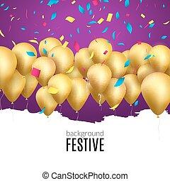 vektor, boldog születésnapot, kártya, noha, arany-, léggömb, és, konfetti, fél, invitation.