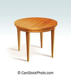 vektor, bord, ved, runda, tom