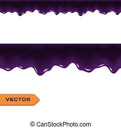 vektor, border., seamless, drips., marmelad, blåbär