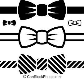 vektor, bov slips, sort, symboler
