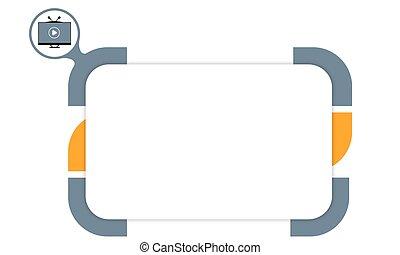 vektor, box, ku vyplňující, tvůj, text, a, televize, ikona