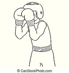 vektor, boxer, satz