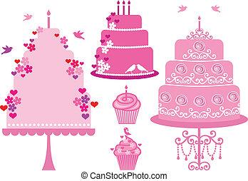 vektor, bröllop, födelsedag bakelse