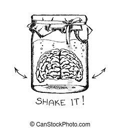 vektor, brain., begrepp, kreativitet, mänsklig