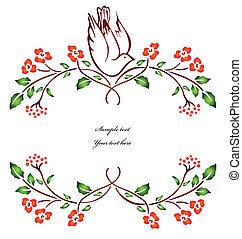 vektor, branch., květ, ptáček, sedění