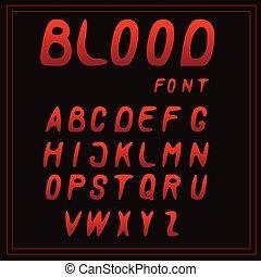 vektor, breven, a-z, blod, dopfunt, röd