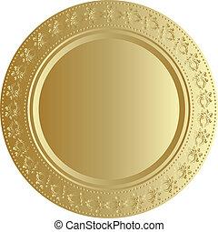vektor, bricka, illustration, guld