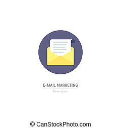 vektor, brief, in, wohnung, stil, -, internet marketing, concept., e-mail, icon.