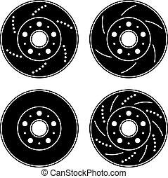 vektor, bromsa, skiva, svart, symboler