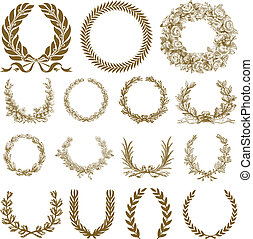 vektor, bronce, krans, og, laurbær, sæt