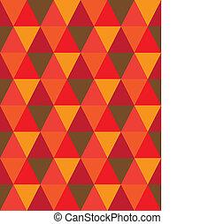 vektor, brun, tegelpanna, diamant, triangel, &, shapes-, mönster, graphic., upprepande, detta, seamless, illustration, apelsin, färger, gjord, bakgrund, består, geometrisk, mosaik, röd