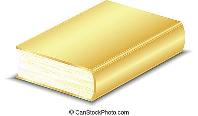 vektor, buch, abbildung, gold