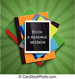 vektor, buecher, reader/tablet, bunte, e-book