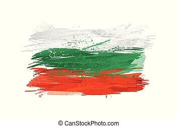 vektor, bulgarien, måla, färgrik, grunge, flagga, texture., smears, gjord, splashes.