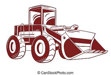 vektor, bulldozer., ábra