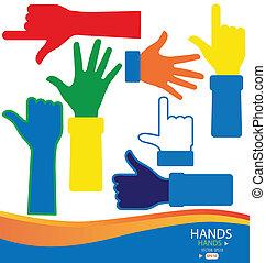 vektor, bunte, hands., illustration.
