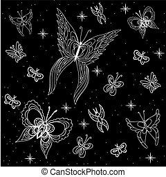 vektor, butterflies., dát, black-white, illustrations.