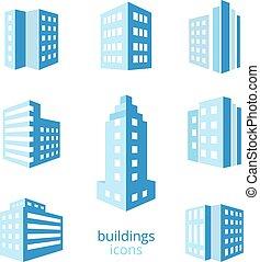 vektor, bygninger, iconerne