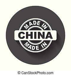 vektor, byt, udělal, symbol, china.