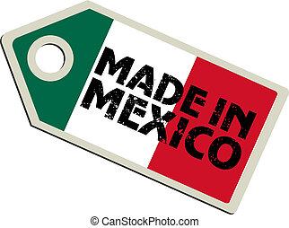 vektor, címke, elkészített, mexikó