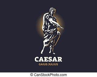 vektor, caesar., emblem.