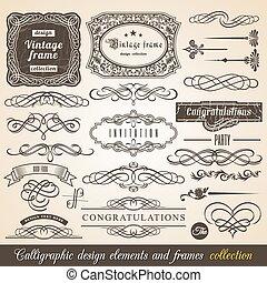 vektor, calligraphic, element