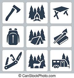 vektor, camping, heiligenbilder, set:, axt, lagerfeuer, camping, tisch, rucksack, zelt, streichhoelzer, bistouri, hirsch, camping, anhänger