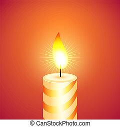 vektor, candle., karácsony, illustration.