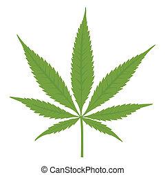 vektor, cannabis, leaf., marijuana.