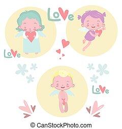 vektor, card., gruß, abbildung, valentines
