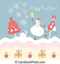 vektor, cartão postal, natal, dançar