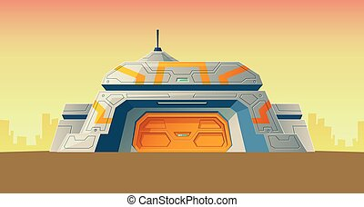 vektor, cartoon, bunker, videnskabelige, laboratorium, by,...