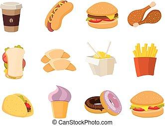 vektor, cartoon, hurtig mad, samling