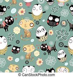 vektor cats owls