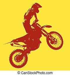 vektor, championship., motokrossz, participates, lovas, illustration.