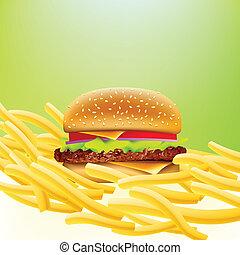 vektor, cheeseburger, und, pommes