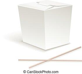 vektor, chopsticks., tökfej, gyorsan, konténer, ebédel, ...